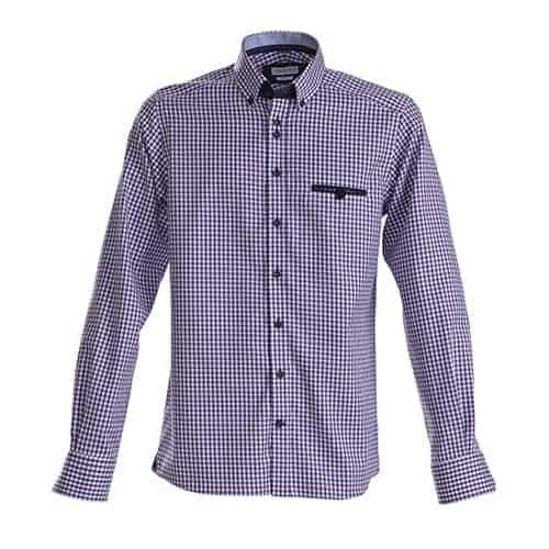 J. Harvest & Frost Purple Bow dames blouse - paars geblokt