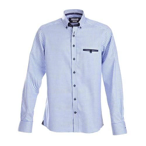 J. Harvest & Frost Purple Bow Dames blouse - blauw geblokt