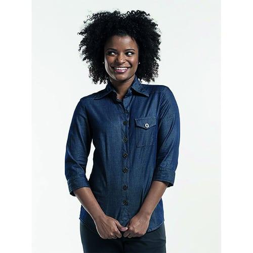 Chaud Devant Dames Stretch 3/4 blouse - blauw