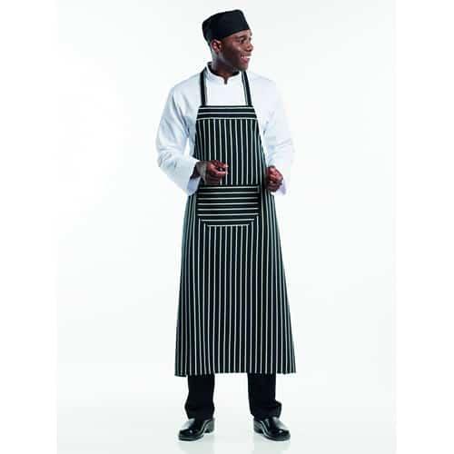 Chaud Devant BBQ schort - zwart/wit gestreept