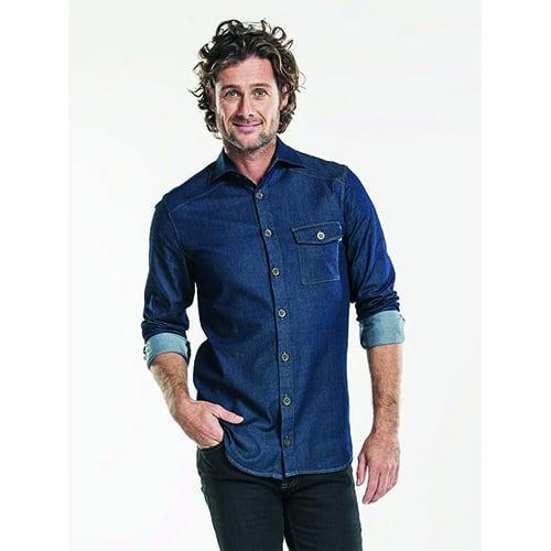 Chaud Devant Heren Stretch overhemd - blauw