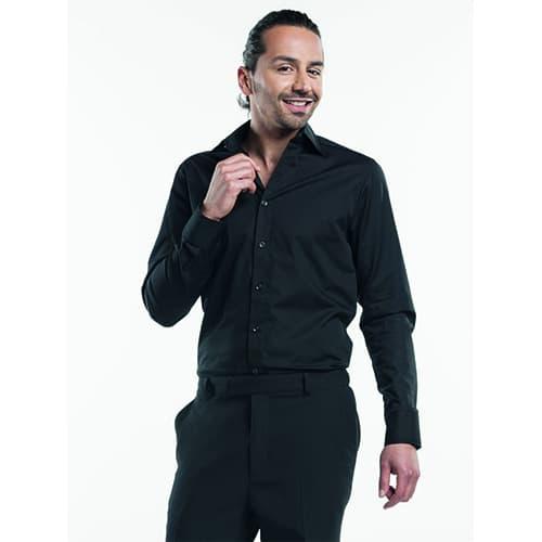 Chaud Devant Heren Stretch overhemd - zwart