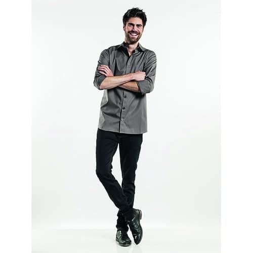 Chaud Devant Heren Stretch overhemd - grijs