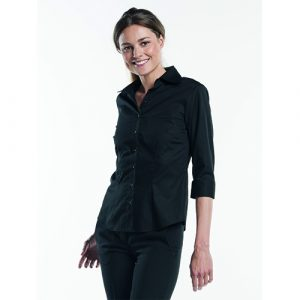 chaud_Devant_dames_stretch_blouse_zwart