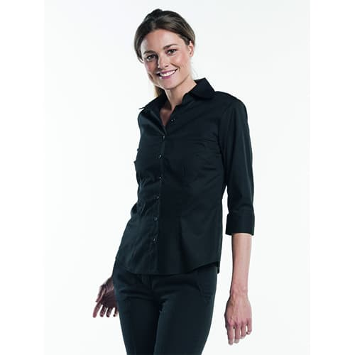 Chaud Devant Dames Stretch 3/4 blouse - zwart