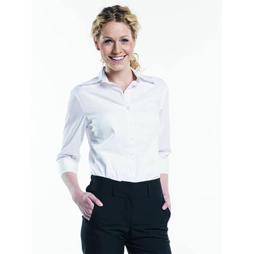 Chaud Devant Dames Stretch 3/4 blouse - wit