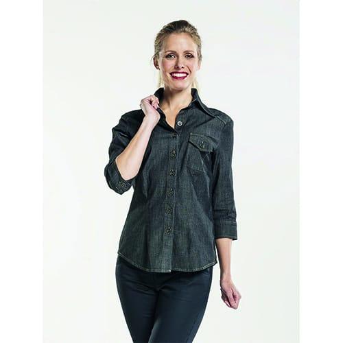 Chaud Devant Dames Stretch 3/4 blouse - antraciet