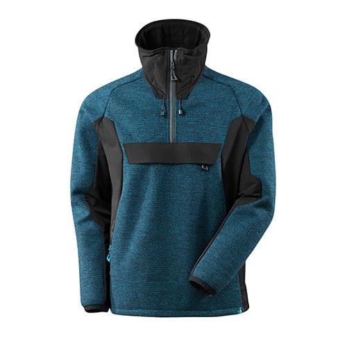Mascot Advanced softshell jas met korte rits - blauw/zwart